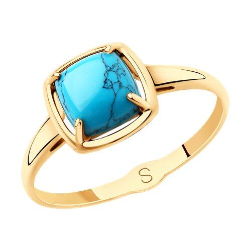 Кольцо из золота с бирюзой (синт.) (715734) - фото