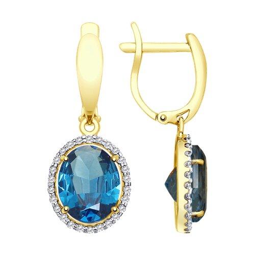 Серьги из желтого золота с синими топазами и фианитами (725274-2) - фото