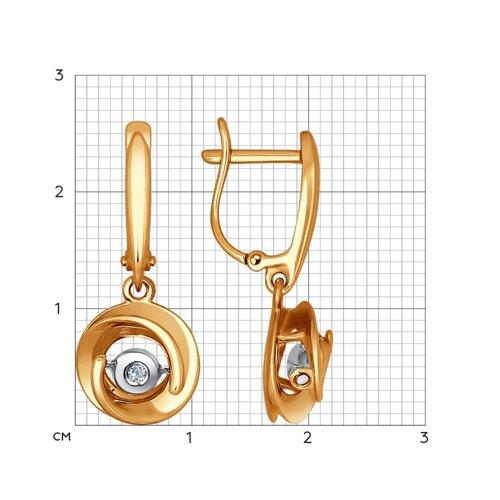 Золотые серьги с танцующим бриллиантом (1021070) - фото №2