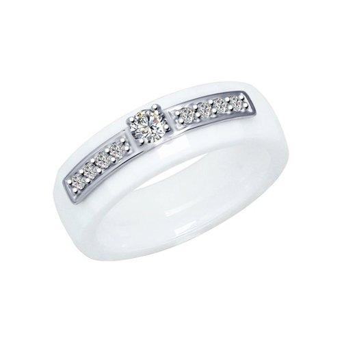 Кольцо SOKOLOV из керамики с серебром и фианитами