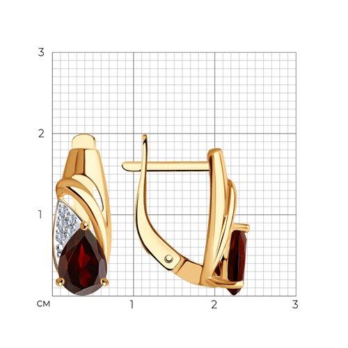 Серьги из золота с гранатами и фианитами 725599 SOKOLOV фото 2