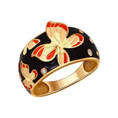 Фото - Кольцо SOKOLOV из золочёного серебра с эмалью с фианитами трехрядное чёрное кольцо из золочёного серебра с эмалью