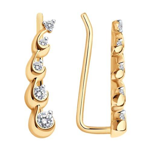 Серьги из золота с фианитами (028047) - фото