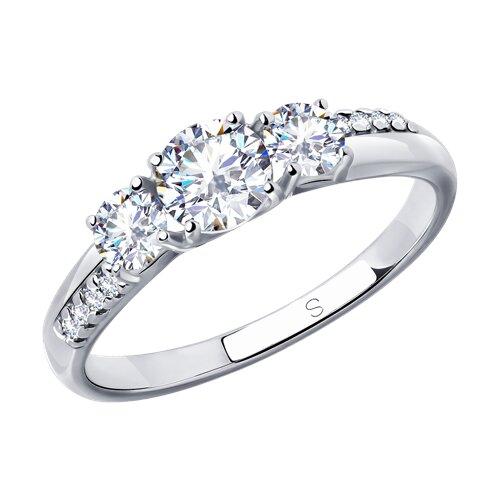 Кольцо из серебра с фианитами (94012831) - фото