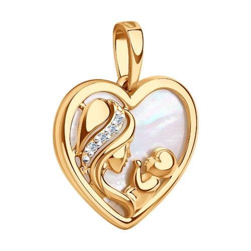 """Подвеска """"Мать и дитя"""" из золота с бриллиантами и перламутром 1030579 SOKOLOV фото 3"""