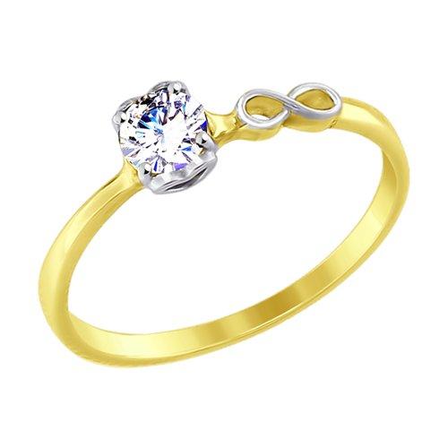 Кольцо из желтого золота с фианитом (017582-2) - фото