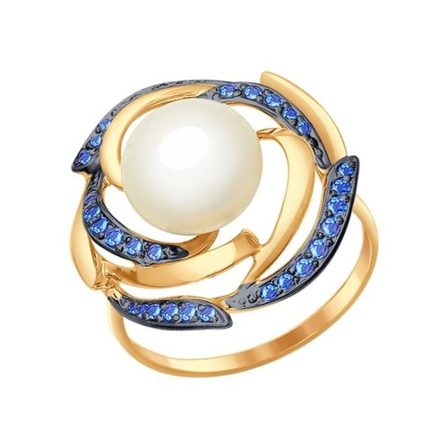 Кольцо из золота с жемчугом и синими фианитами