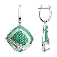 Серьги из серебра с зелеными ситаллами и фианитами