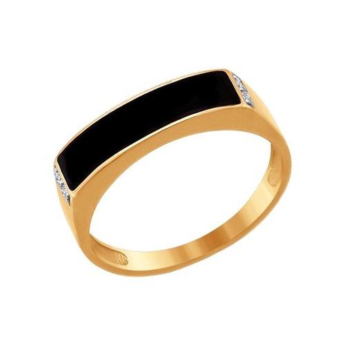 Печатка SOKOLOV из золота с эмалью с фианитами печатка с сапфирами из черного золота