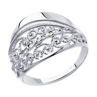 Кольцо из серебра с алмазной гранью