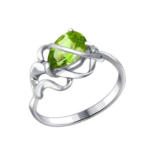 Кольцо SOKOLOV из серебра с фианитами и хризолитом