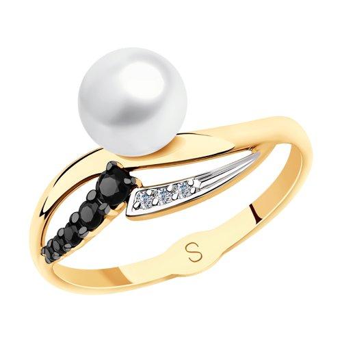 Кольцо из золота с жемчугом и фианитами (791142) - фото