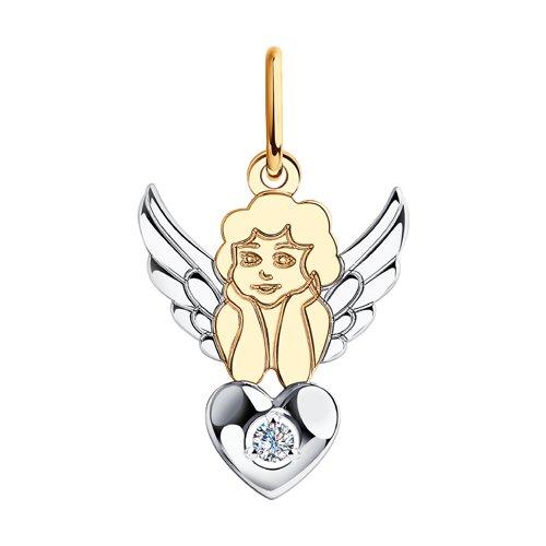 """Подвеска """"Ангел"""" из комбинированного золота с фианитом"""