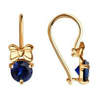 Серьги «Бабочки» из золота с синими корундами
