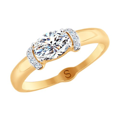 Кольцо из золота со Swarovski Zirconia (81010409) - фото