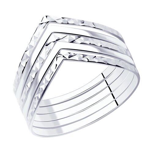 Кольцо наборное из серебра с алмазной гранью