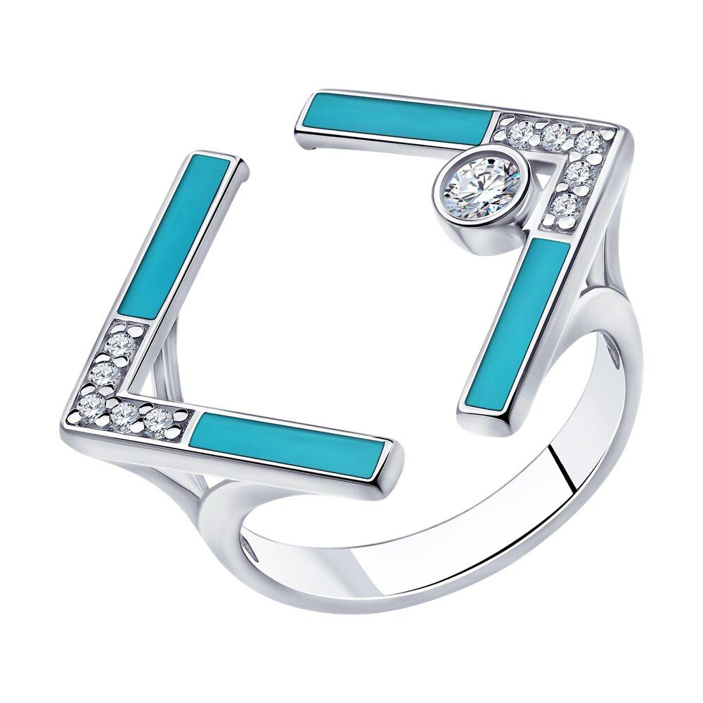 Кольцо SOKOLOV из серебра с эмалью и фианитами кольцо с фианитами и эмалью из серебра valtera 79448