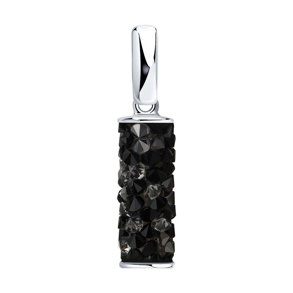 Подвеска SOKOLOV из серебра с чёрными кристаллами Swarovski серебряные серьги с чёрными кристаллами swarovski
