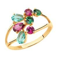 Кольцо из золота с родолитами и зелеными ситаллами