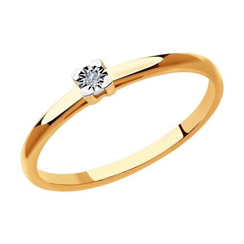 Кольцо из комбинированного золота с бриллиантом (1011931) - фото