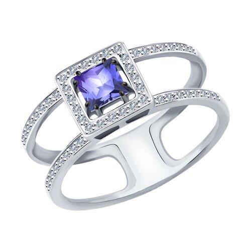 Кольцо из белого золота с бриллиантами и танзанитом 6014154 SOKOLOV фото