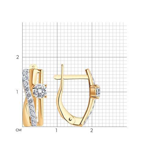 Серьги из золота с фианитами (026816) - фото №2