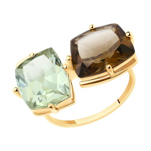 Кольцо из золота с аметистовым и раухтопазом (716017) - фото