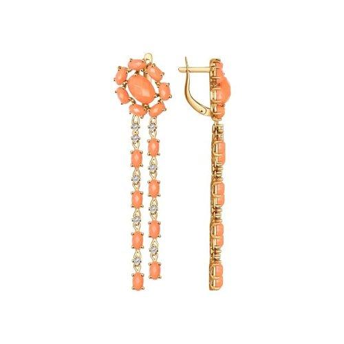 Серьги длинные из золота с кораллами и фианитами