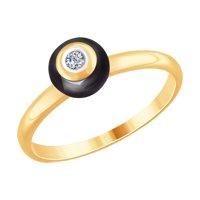 Кольцо из золота с бриллиантом и чёрной керамикой