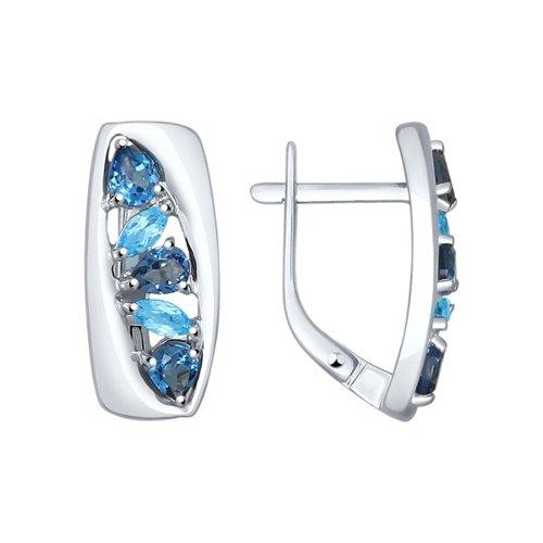 Серьги из серебра с синими топазами