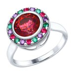 Кольцо из серебра с красным Swarovski Zirconia и фианитами