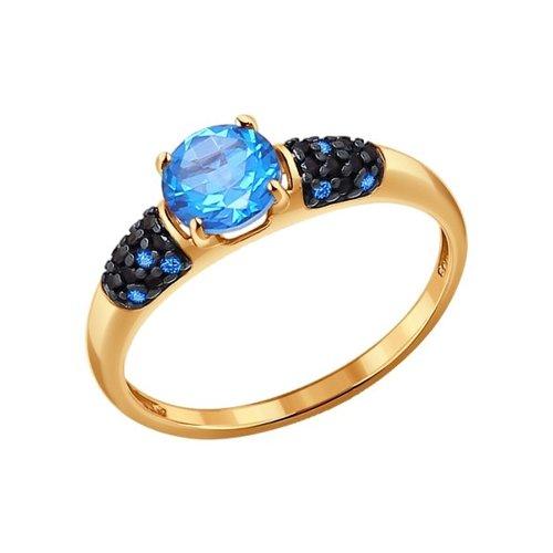 Золотое кольцо с топазами Swarovski и фианитами
