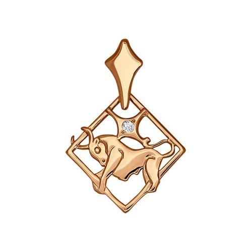 Подвеска знак зодиака SOKOLOV из красного золота c фианитами «Телец»