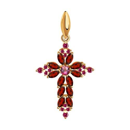 Крест из золота с полудрагоценными вставками