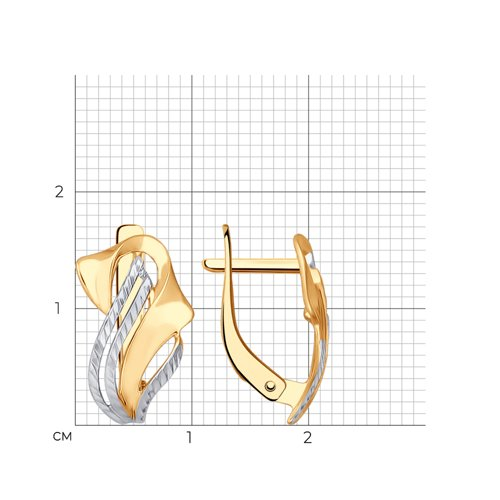 Серьги из золота с алмазной гранью (027288) - фото №2