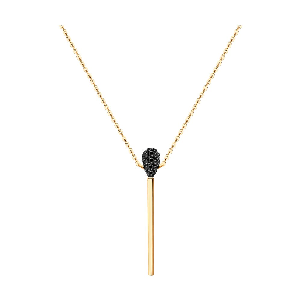 Фото - Колье SOKOLOV из золота с черными облагороженными бриллиантами подвеска sokolov из желтого золота с бриллиантами и черными облагороженными бриллиантами