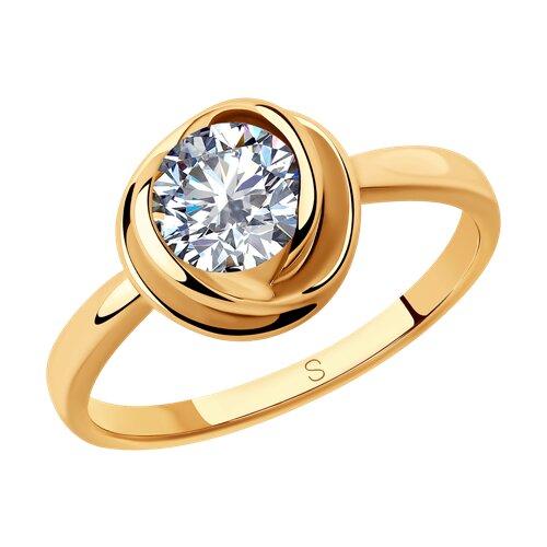 Кольцо из золочёного серебра с фианитом (93010792) - фото