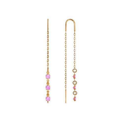 Серьги-цепочки из золота с розовыми фианитами