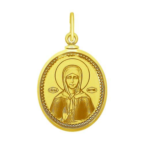 Подвеска Святая блаженная Матрона Московская из желтого золота с лазерной обработкой и эмалью