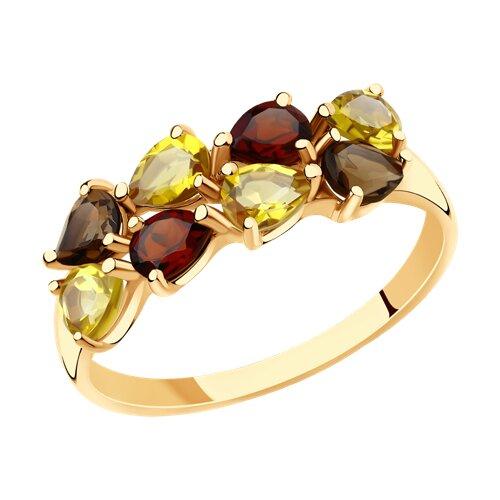 Кольцо из золота с полудрагоценными вставками (715890) - фото