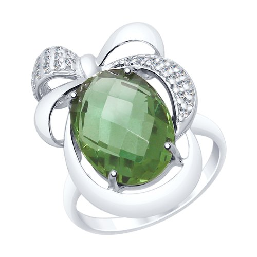 Кольцо из серебра с кварцем и фианитами (92011549) - фото