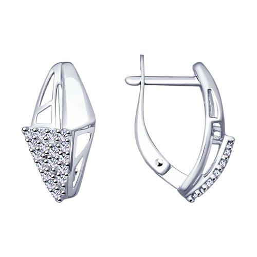 Серьги из серебра с фианитами (94022919) - фото