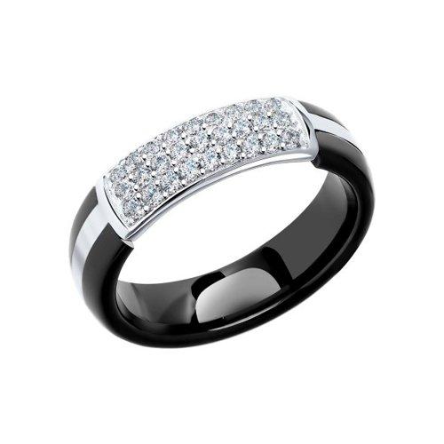 Чёрное керамическое кольцо с фианитами SOKOLOV