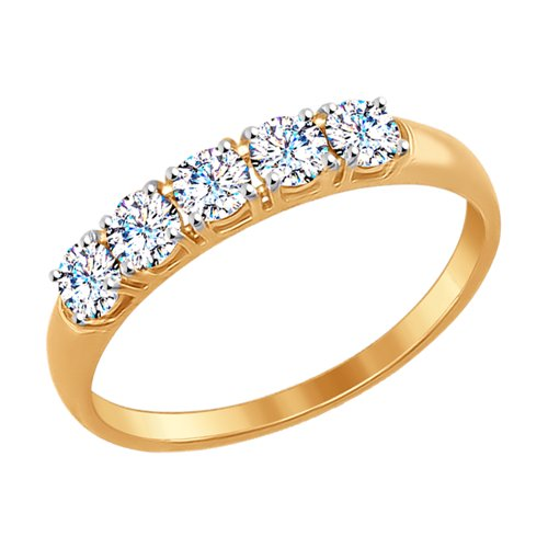Кольцо из золота со Swarovski Zirconia (81010281-4) - фото