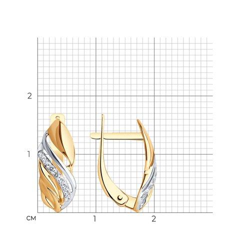 Серьги из золота с фианитами (027400) - фото №2