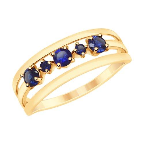 Кольцо из золота с синими корундами (715396) - фото