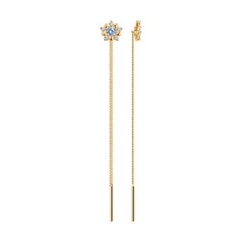 Серьги-цепочки из золота с голубыми фианитами