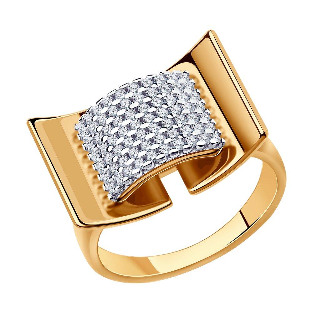 Кольцо SOKOLOV из золочёного серебра с фианитами недорого