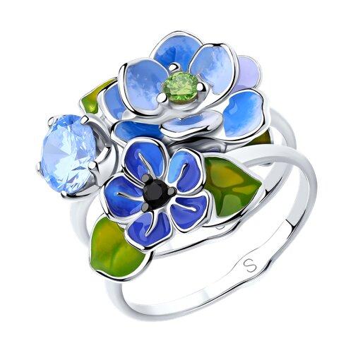 Кольцо из серебра с эмалью и фианитами (94012953) - фото