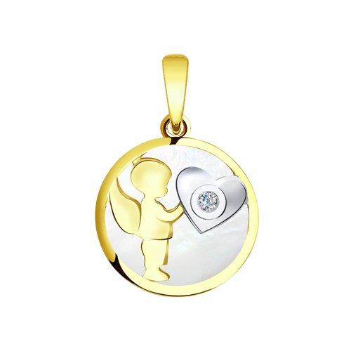 """Подвеска """"Ангелок"""" из желтого золота с бриллиантом и перламутром"""